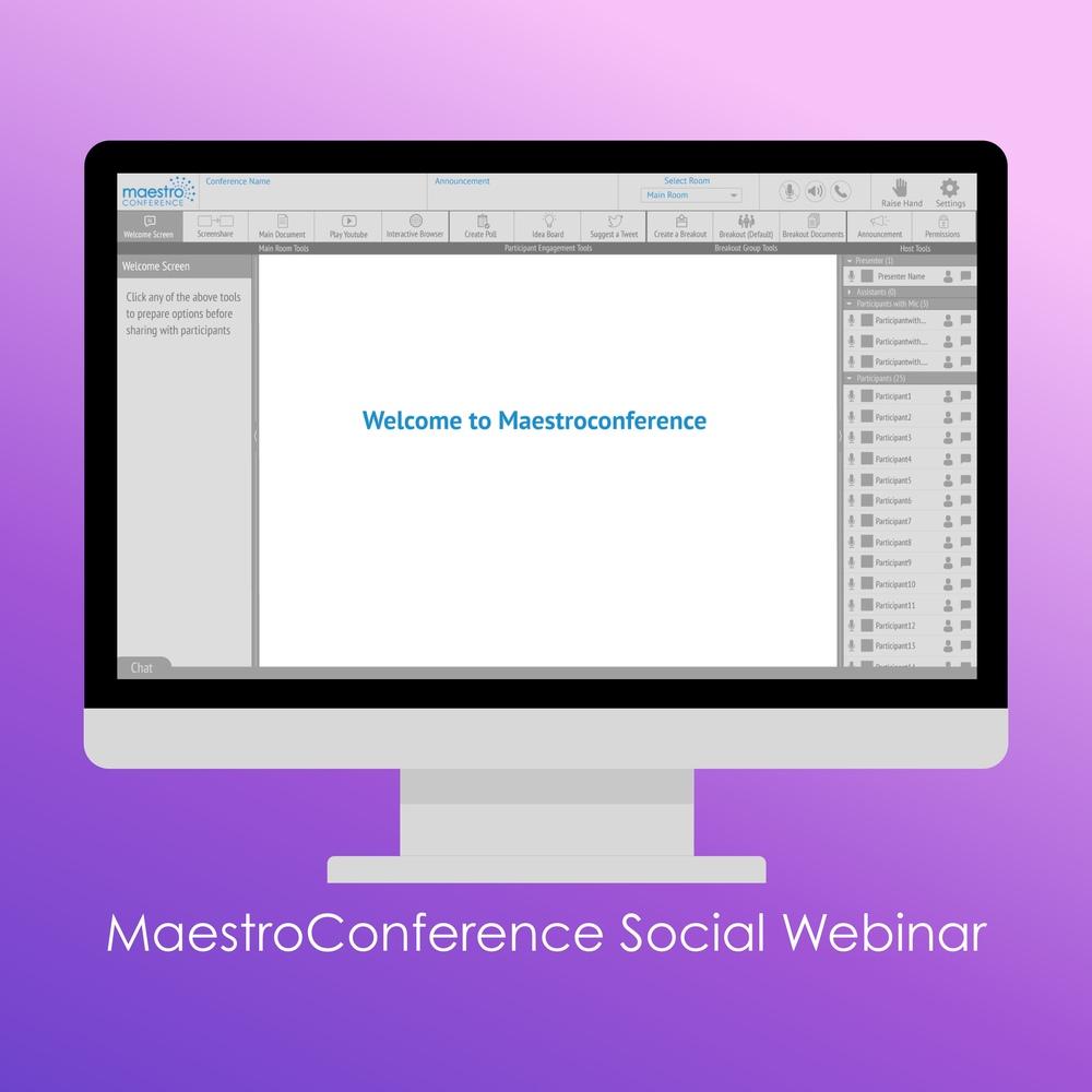 MaestroConference Social Webinar screen for presenters.