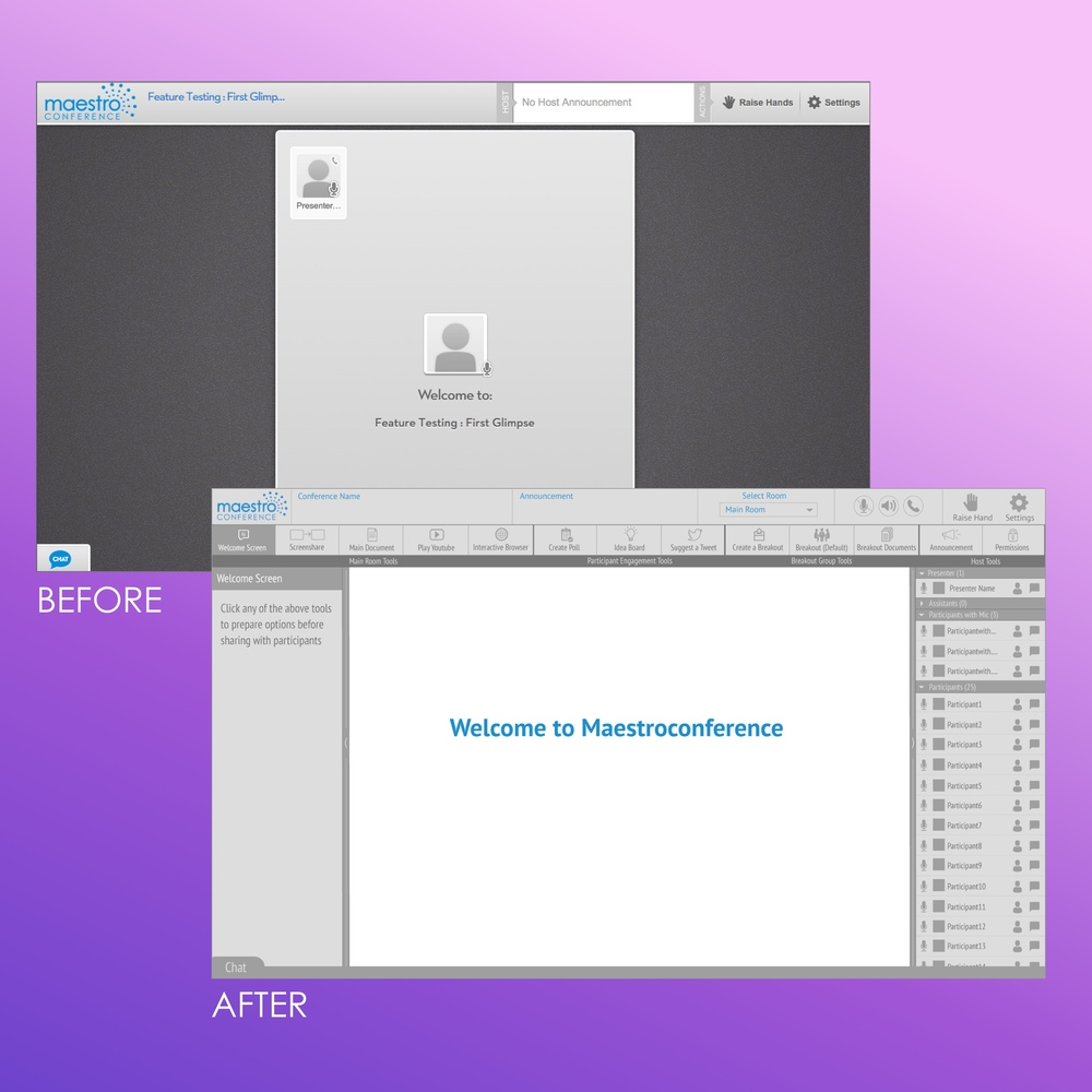 Before and after comparison of MaestroConference's Social Webinar presenter screen.