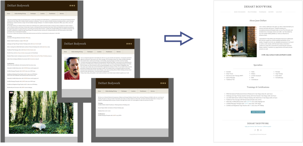 Before, the practitioner pages had no consistency in what information as displayed or how it was laid out.After, the information is broken into sections (About Me, Specialties, Trainings & Certifications) in a clear and consistent layout.