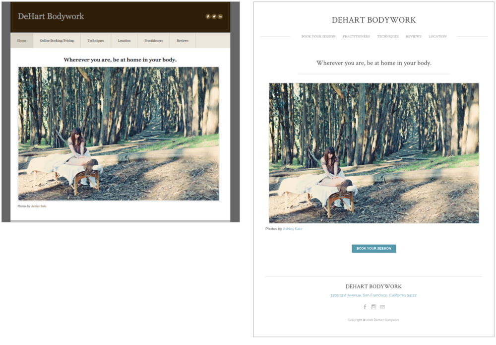 The before and after comparison of the DeHart Bodywork homepage.