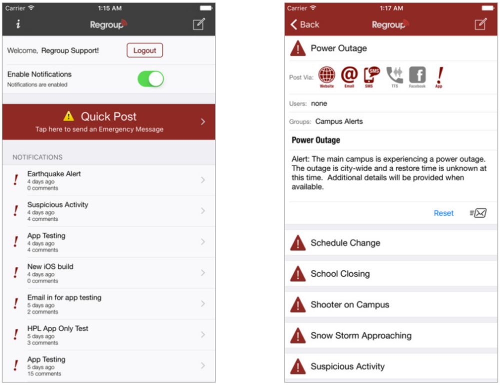 The Regroup AlertManager iOS app emphasizes Quick Post (template) messaging as the primary funcation.