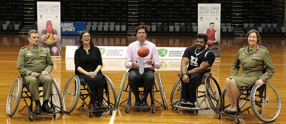 BriG Matt Hall, ADF AFL; Jenni Cole, CEO DSA; GILLON MCLACHlAN, CEO AFL, MAJ. GEN. SIMONE WILKIE, CHAIR ADF SPORTS COUNCIL