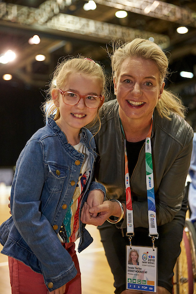 Emily Prior (left), DSA's newly announced Youth Ambassador with Senator the Hon. Bridget McKenzie, Federal Minister for Sport (right) at the Opening Ceremony of the GIO 2018 IWRF Wheelchair Rugby World Championship