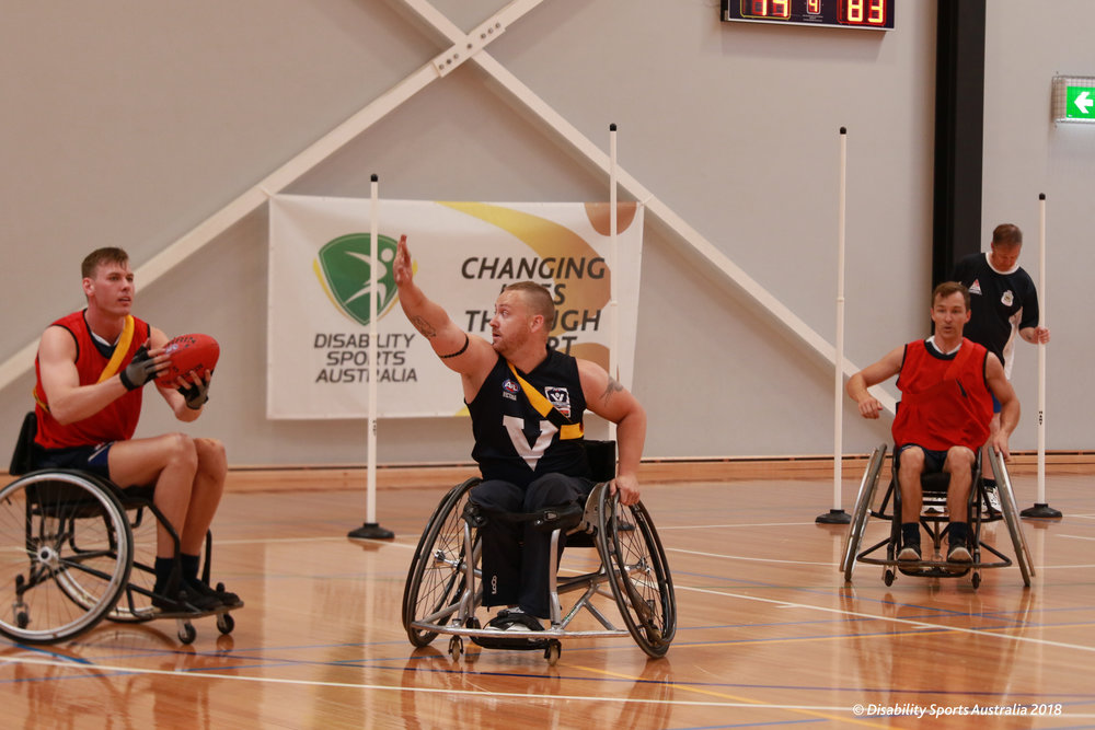 Louis Rowe making his debut for the Victorian team at the 2018 Wheelchair Aussie Rules Nationals.