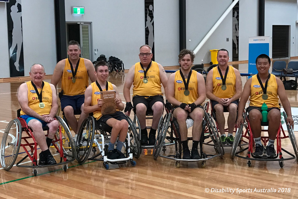 Team SA receiving their National Champions trophy at the conclusion of the 2018 Wheelchair Aussie Rules National Carnival
