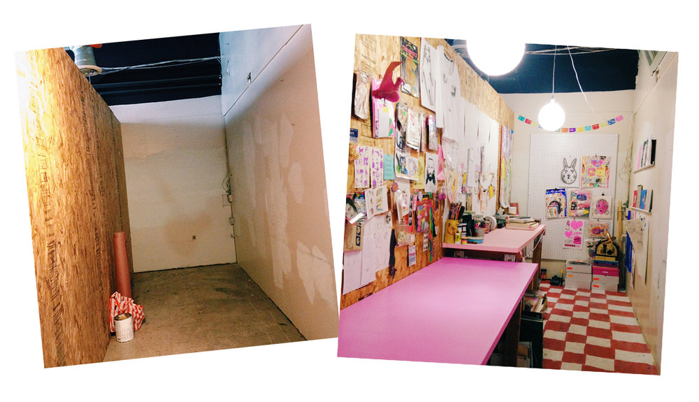 hallway studio before (left) & after (right)