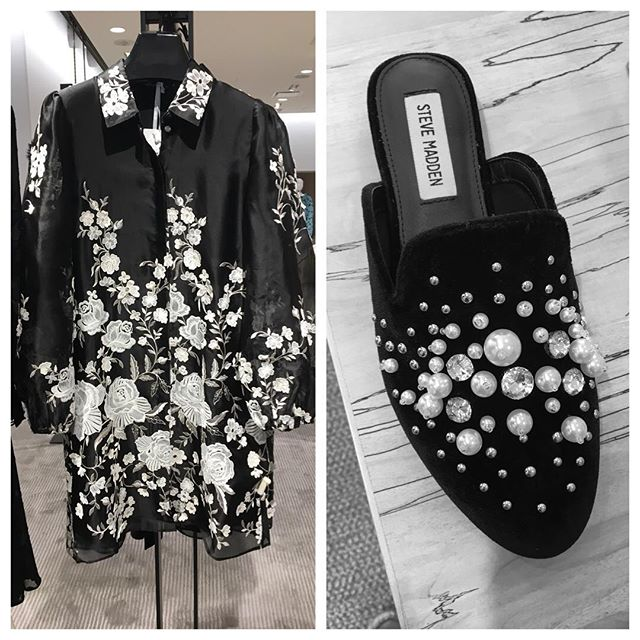 Just add pants! #Co-Collection embroidered organza jacket and #stevemadden velvet mule with #pearl #embellishment. #love #fall #clothing #simple #elegant #sophisticated #thelaconsultinggroup #whattowear