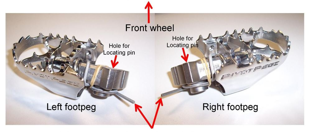 The spring legs lean against frame and are compressed when the pegs are moved into position and the pins are inserted.