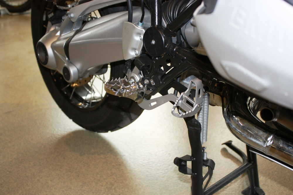 Pivot Pegz fitted to a BMW R1200GSA