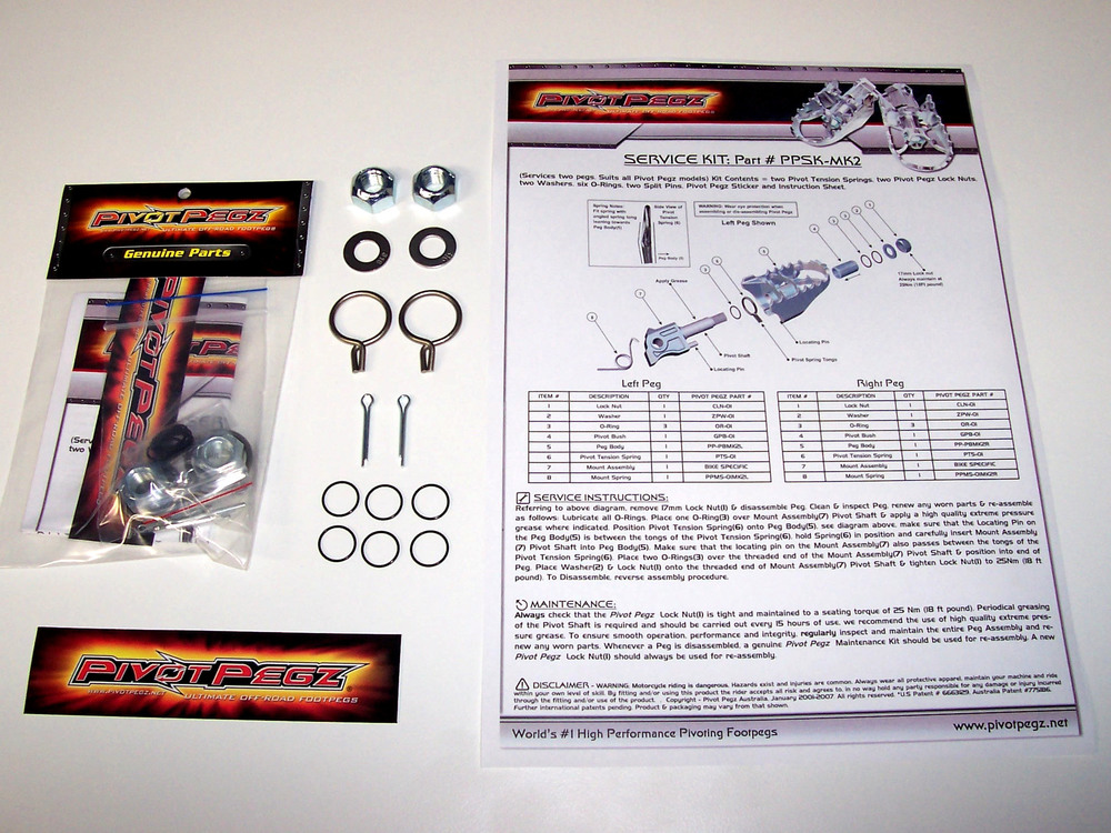 Service Kit - Part # PPSK-MK3 (Services two pegs.) $19.95 Kit includes = Two pivot springs, two lock nuts, two washers, six orings, two split pins, Pivot Pegz sticker and instruction sheet.