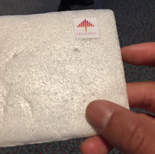 I held Cellutech's nanocellulose 'Cellufoam""