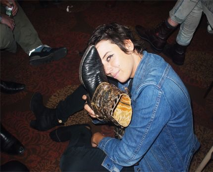 Musician Cat Power with her Leontine Bronze Boots