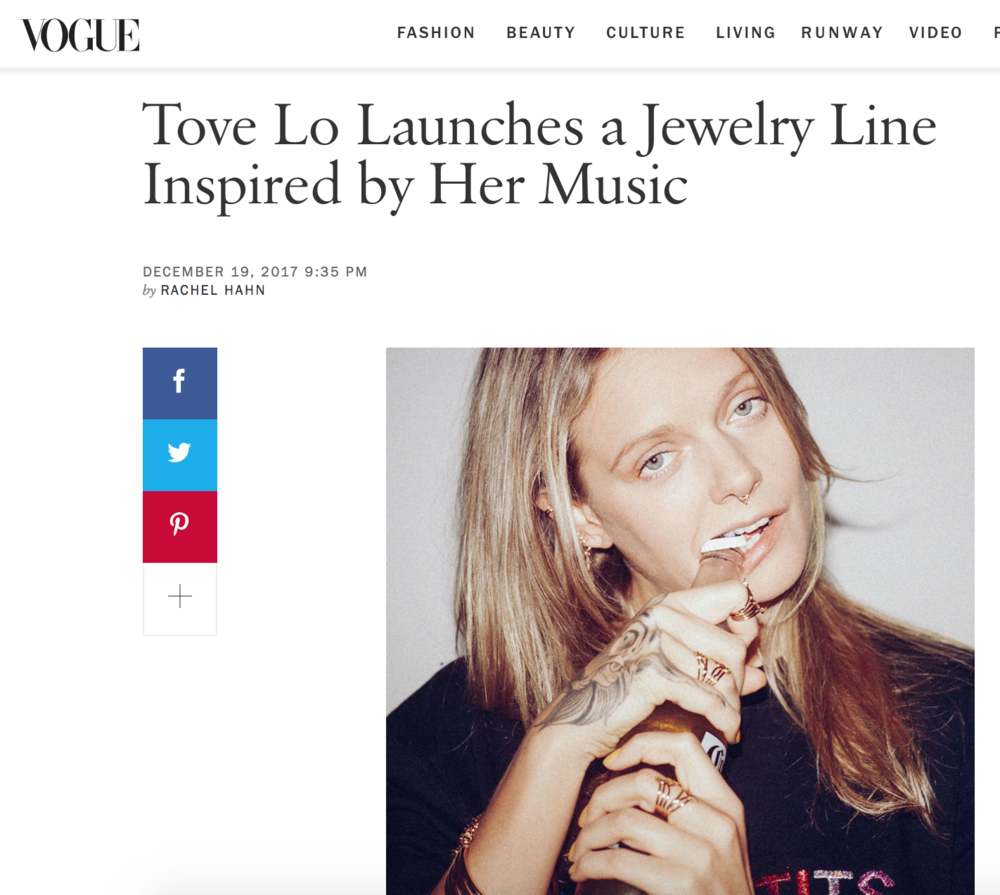 Tove Lo X Leontine Jewelry Collaboration on VOGUE.COM