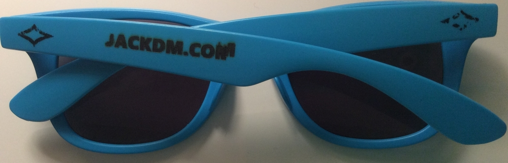 Jackdm.com engraved sunglasses, with a minor error in the right-hand side of the M.