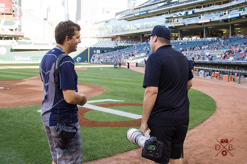 Brace Hemmelgarn (left), Minnesota Twins photographer and Jordan Johnson (right), Minnesota Timberwolves/Lynx photographer