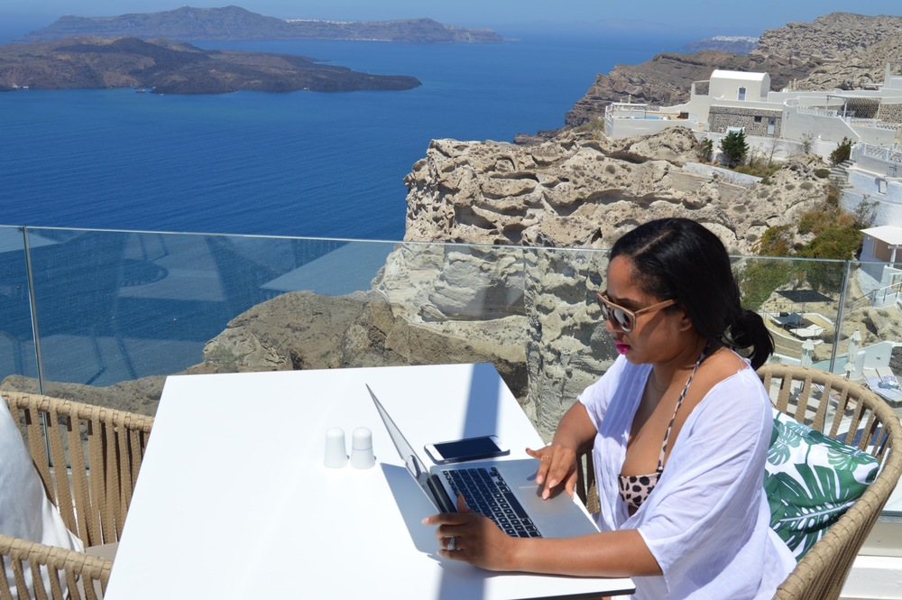 """Greetings from Santorini, Greece! I woke up at the crack of dawn excited to share The 31 Project with you all! This is my """"let's do this"""" face!"""