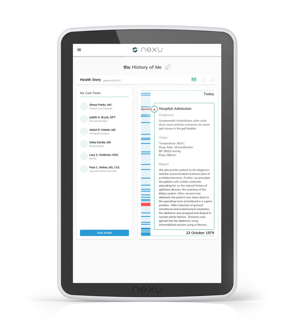 Health Story - Pulls data from electronic medical records (EMR), collecting care team information and a complete medical history all in one place.