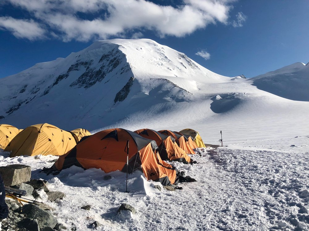 High camp with Mount Khuiten behind