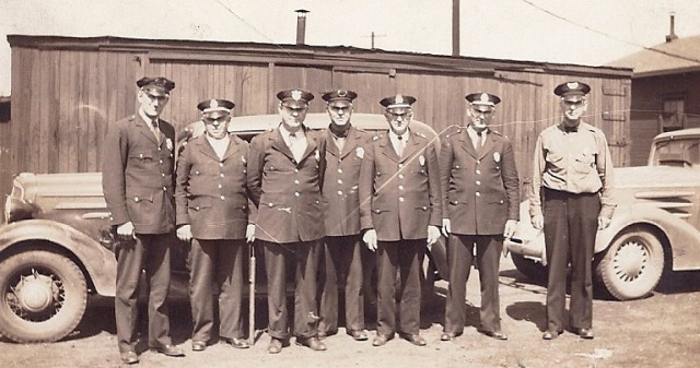 Mid to late 1930's in Marion, Ohio  Mixture of Cincinnati & Ohio Railroad Police and Erie Railroad Police  EG Fulcher fourth from left