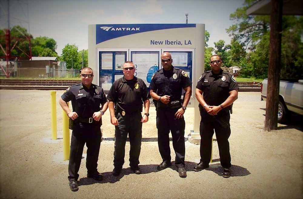 Railroad Special Agents who presented a Crossing Accident Reduction Education (CARE) class in New Iberia, LA in 2017. Left to right are: BNSF Special Agent PB Rivera, KCS Special Agent Shane Bertrand, BNSF Special Agent Ken Steward, and Union Pacific Special Agent Quincy Bryant.