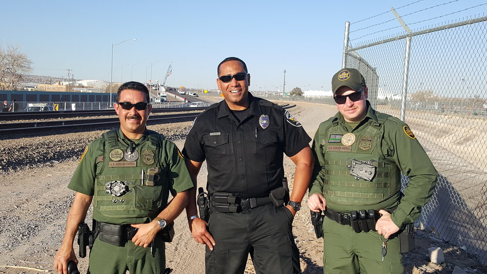 February 17, 2016, El Paso, Tx.  Left to right: US Customs and Border Patrol Agent Mercado, Union Pacific Railroad Special Agent Quincy Bryant, US Customs and Border Patrol Agent McCarthy.  Agents worked together for the Pope's visit to Juarez, Mexico.