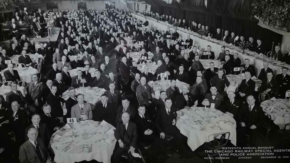 December 10, 1936, The Sixteenth Annual Banquet for the Chicago Railway and Special Agents Association held at the Motel Sherman in Chicago, IL. 796 members in attendance.  In appreciation of Amtrak Detective Doug Balk.  **************************************************************************************************************************************************************************************************************************************