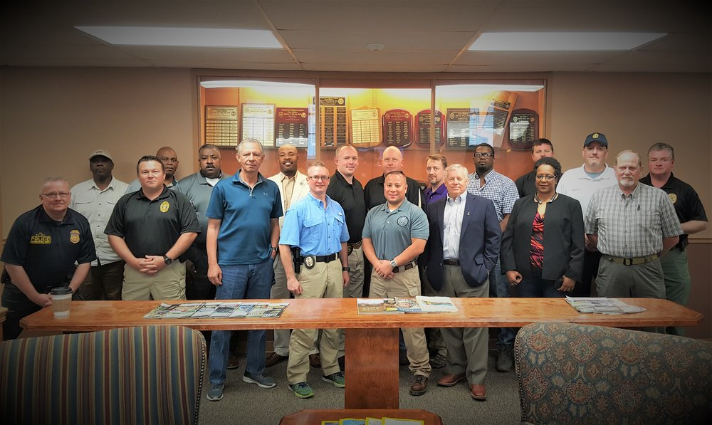 Annual Railroad Police In-Service Training from March 26th - 29th 2018 at the Mississippi Law Enforcement Officers' Training Academy (MLEOTA) / State Police HQ in Pearl, MS. Training included Agents from Amtrak, KCS, Canadian National, and Burlington Norther Santa Fe   Front Row L-R : Sam Bell, Amtrak; Shane Bertrand, KCS; Raymond Delvalle, Amtrak; Steven Solomon, CN; PB Rivera, BNSF; Atty. Andy Brister, Brister & Brister Law Firm; Monica Carson, CN; Keith Martin, KCS.   Back Row L-R:  Harry Stovall, Amtrak; Danny Wharton, Amtrak; Morris Evans, CN; Sheriff Wydette Williams, E. Carroll S.O.; Brad Reuter, CN; David Smith, CN; John Robin Snyder, CN; Wayne Hardy, KCS; Reed Harrington, CN; John Kay, KCS; Jim Miller, CN   Not Pictured (Photo-taker):  Chris Lanoue, CN  *************************************************************************************************************************************************************************************************************************************