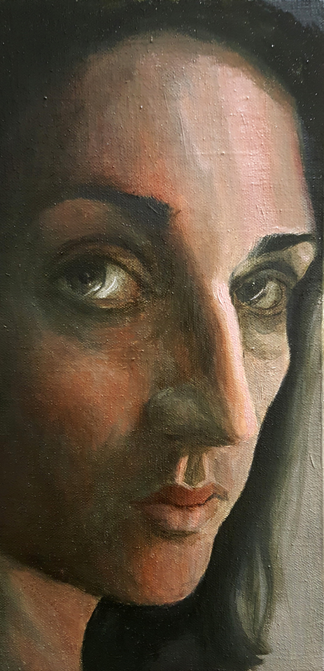 "A Hazy Glimpse of Me 12"" x 6"" Oil on Canvas"