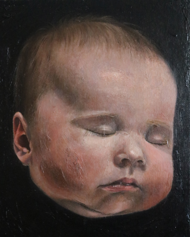 "Baby Head 20"" x 16"" Oil on Linen"