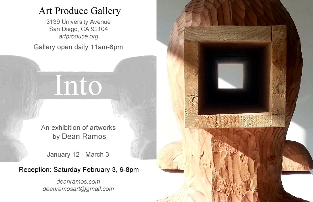 "Art Produce ""Into"" exhibition postcard 2018, back on left / front on right"