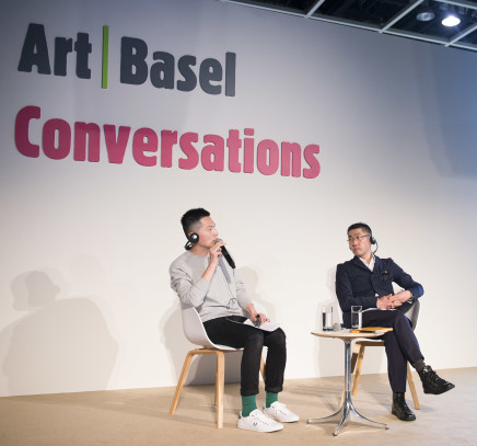 ( Art Basel Hong Kong 2016 Conversations: Samson Young and Tatsuo Miyajima. Image courtesy Art Basel.)