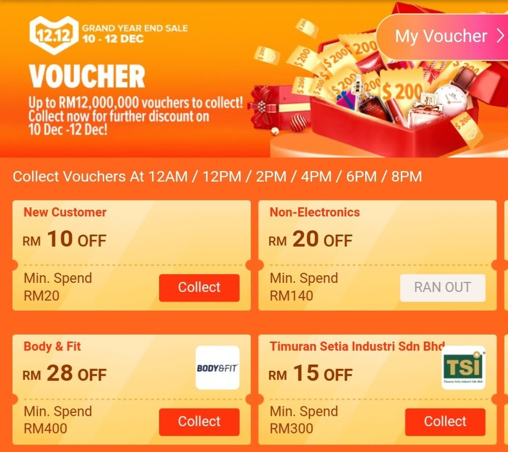 Example of Lazada's gamified promotions and vouchers.
