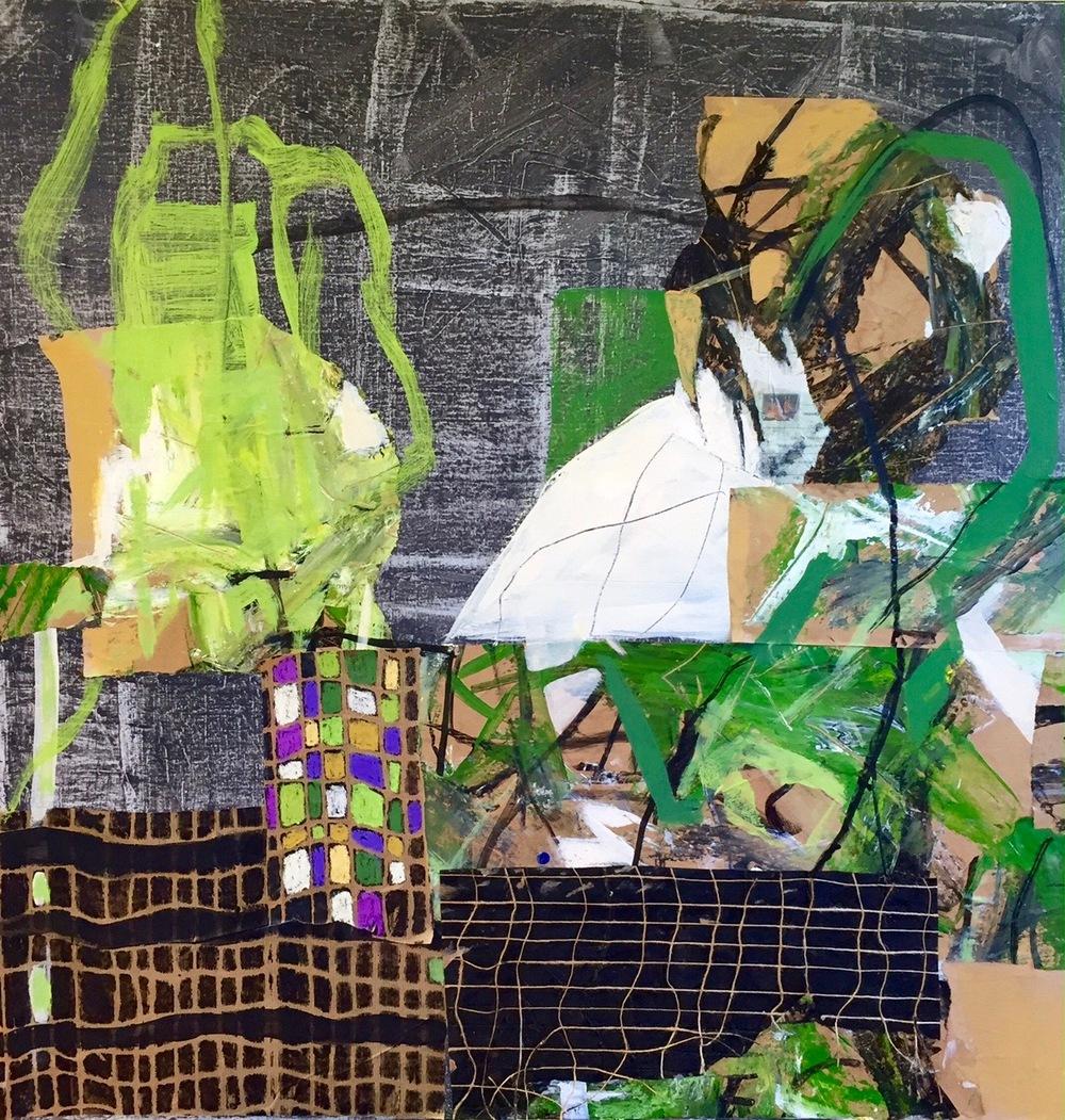 """""""  VERTE JEUNESSE  """"  80 X 80 cm  acrylique  pastels gras et collages"""