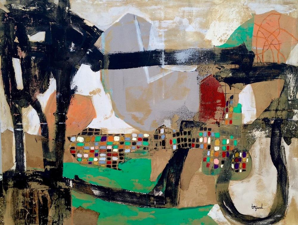 """""""  IL FAUT CULTIVER NOTRE JARDIN  """"  130 X 89 cm  acrylique  pastels gras et collages"""