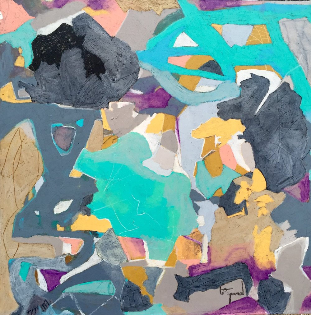 """""""   PERSIENNES ENTROUVERTES   """" 100 X 100 cm  acrylique et pastels gras"""