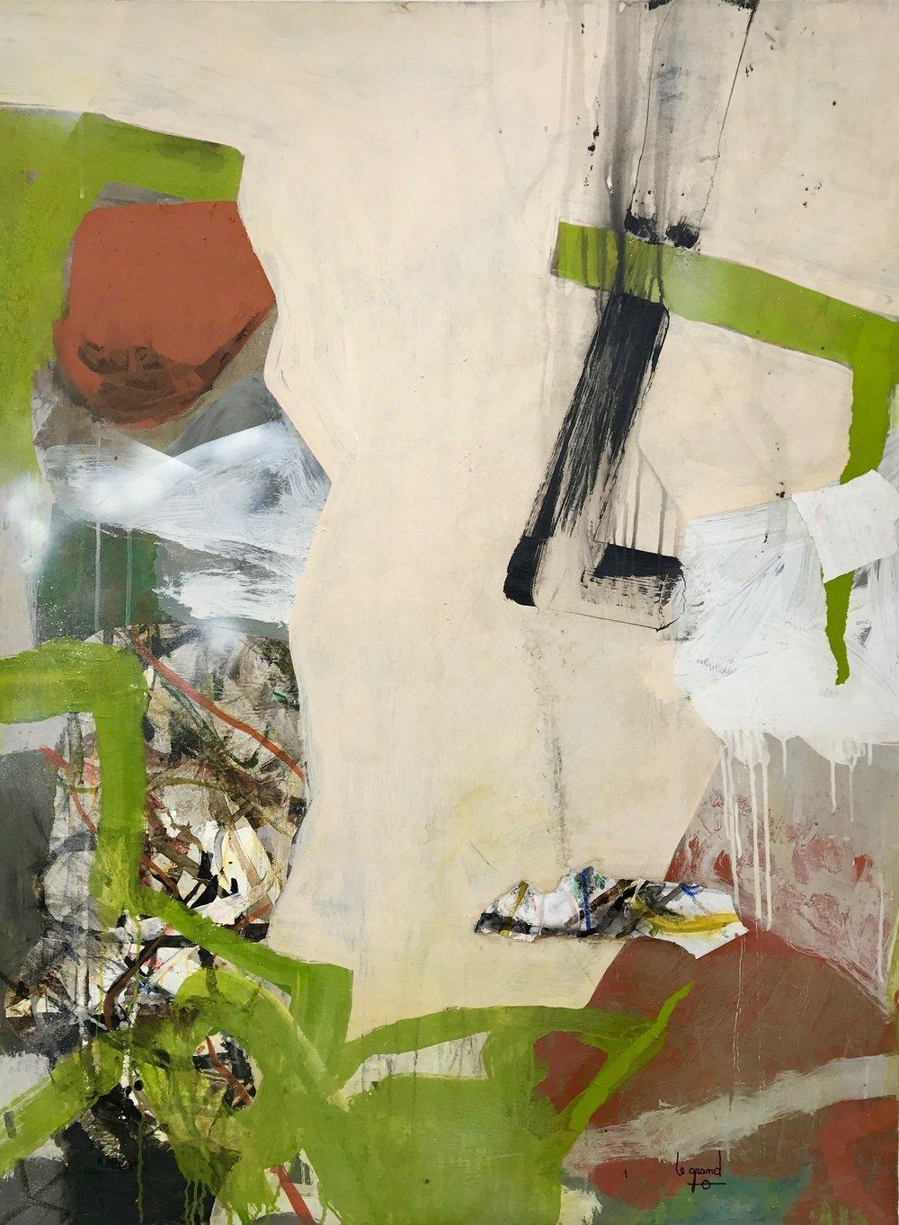 """""""   EIRE QUE J'AIME  """" 130 X 97  cm acrylique et collages"""