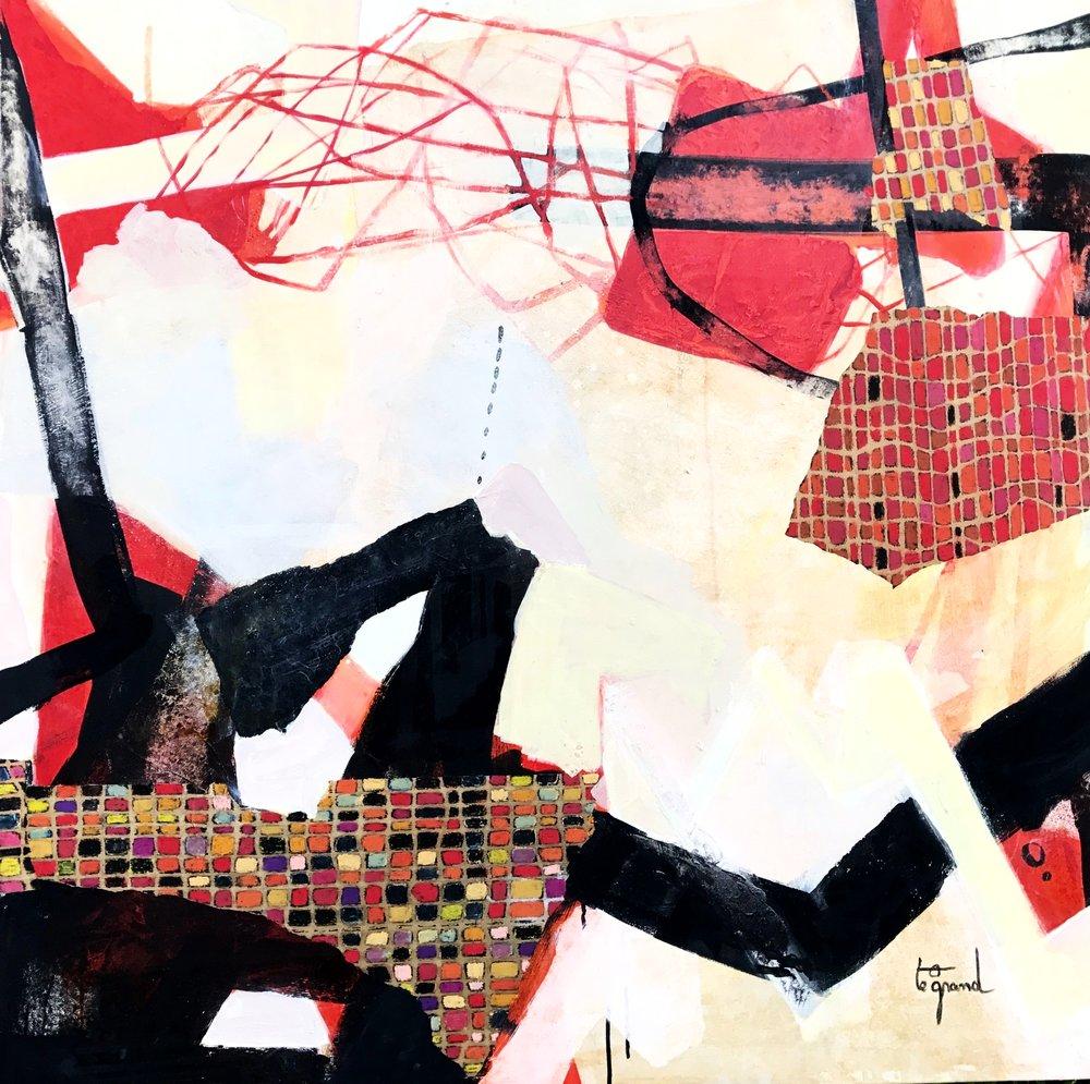 """""""   LE 24 DECEMBRE   """"120 X 120 cm  acrylique  pastels gras et collages"""