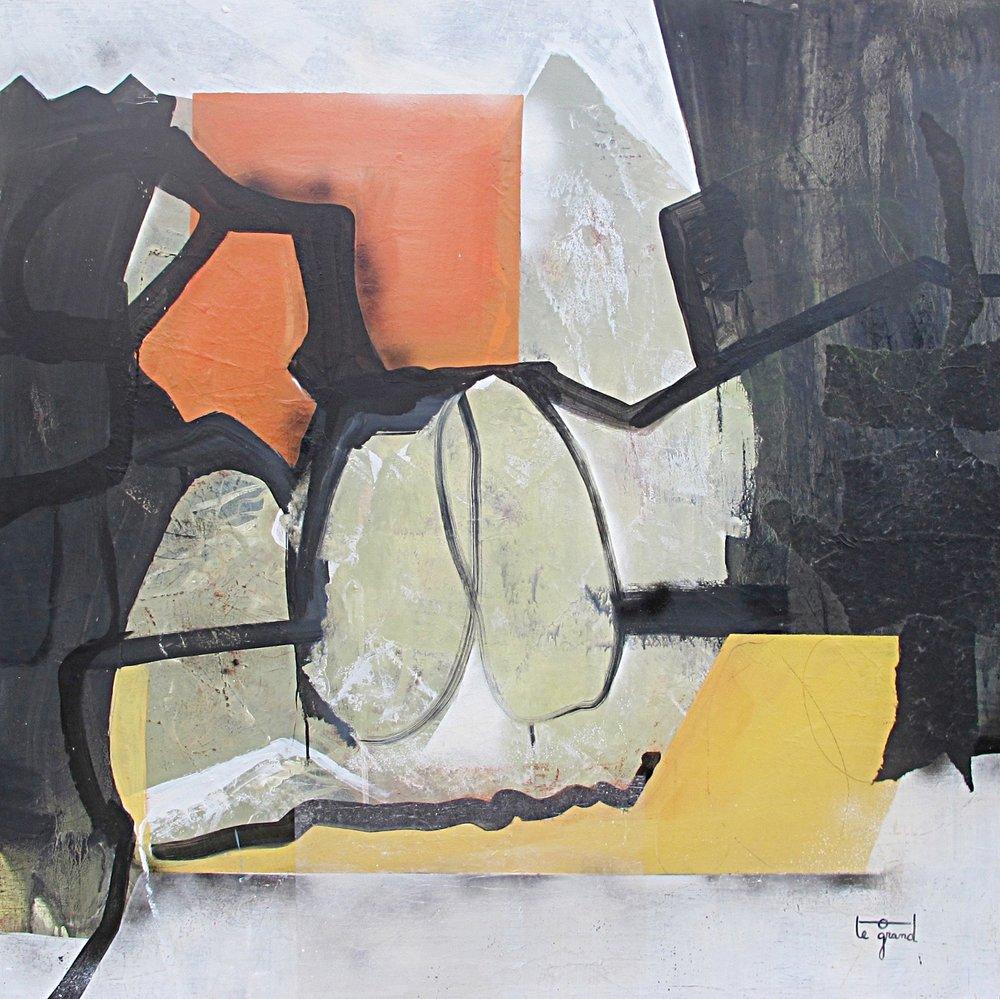 """""""OMAN""""   150 x 150 cm  acrylique et collages"""