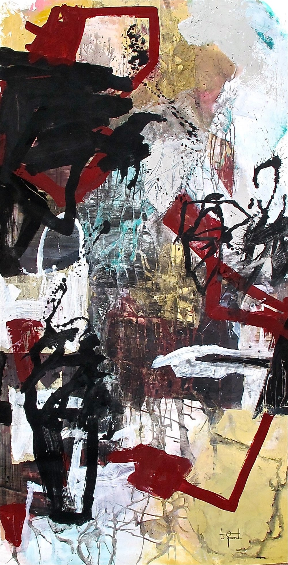"""""""LA BRUNNELLIERE""""   226 x 140 cm  acrylique et collages sur papier"""