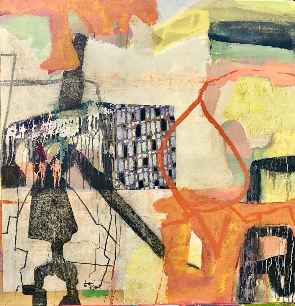 """""""  PRET A PORTER """"  1 00 X 100 cm  acrylique ,pastels gras collages et fusain"""