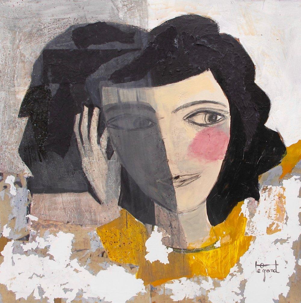 """"""" DEMAIN """"  120X 120 cm   acrylique, pastels gras, collages,fusain"""