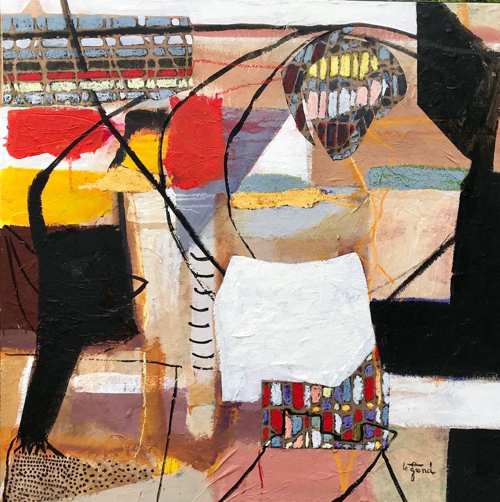 """""""GUSTAVE K""""  80 X 80 cm    acrylique et collages et pastels gras"""