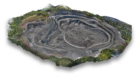 Aerial UAV 3dD Model of a mine