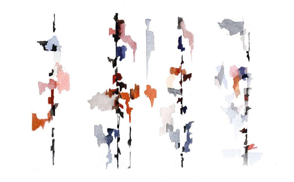 ‹Tints› von  Asaf Hameiri,  Aquarell und Tusche auf Büttenpapier