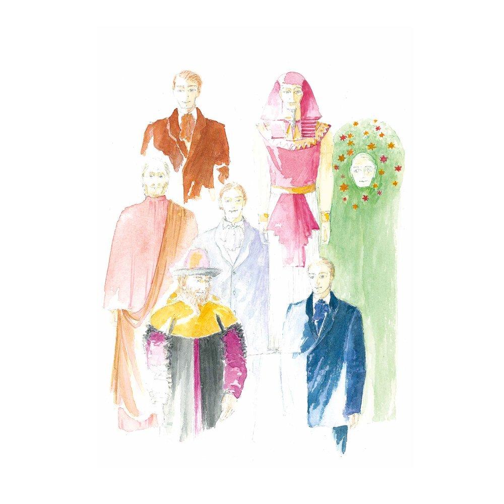 Kostümskizzen von Katharina Lehmann im Auftrag von Wilfried Hammacher.