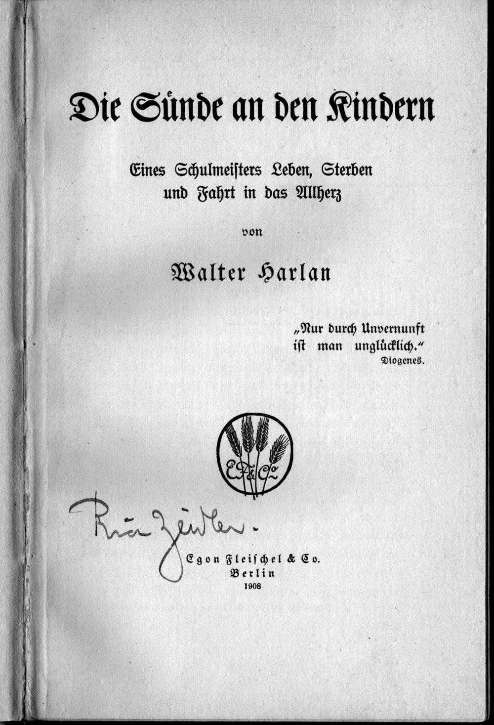 Buchumschlag: ‹Die Sünde an den Kindern. Eines Schulmeisters Leben, Sterben und Fahrt in das Allherz›, 1908