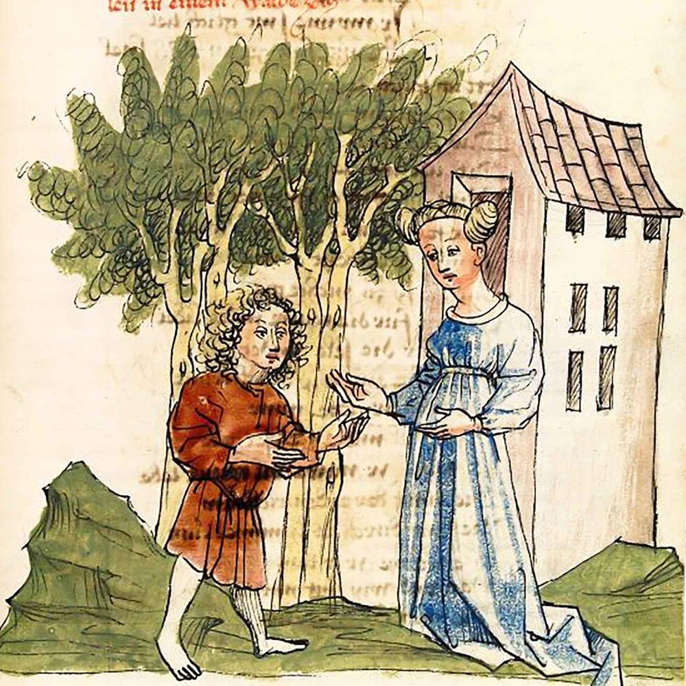 Herzeloyde und Parzival im Wald von Soltane. Aus: Wolfram von Eschenbach, Parzival (Handschrift), Hagenau, Werkstatt Diebold Lauber, um 1443–1446, Cod. Pal. germ. 339, I. Buch, Blatt 87r. Universitätsbibliothek Heidelberg