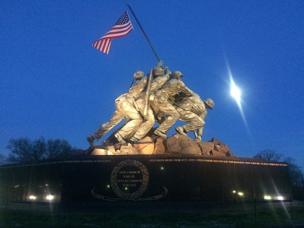 Iwo Jima memorial...it's larger than I thought and quite impressive.