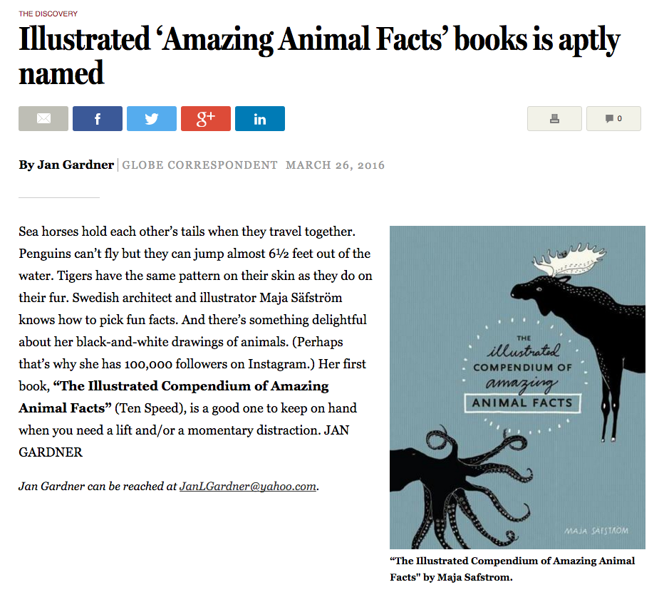 Majasbok, maja säfström, illustrated compendium of amazing animal facts, animal fact book, the boston globe, jan gardner, fact book, childrens book, scandinavian style, illustrated animal kingdom, quirky animal facts
