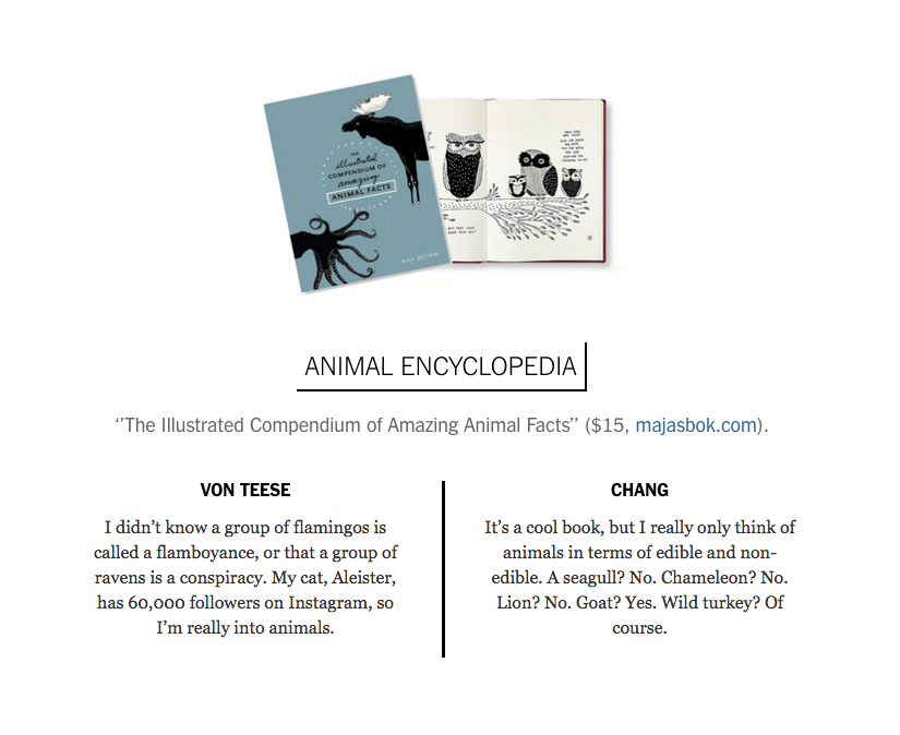 Majasbok, Maja Säfström, the illustrated compendium of amazing animal facts, dita von teese, david chang, the new york times, take two, book review, duel review, animal illustration, black and white illustration, scandinavian illustration, animal kingdom, animal fact book